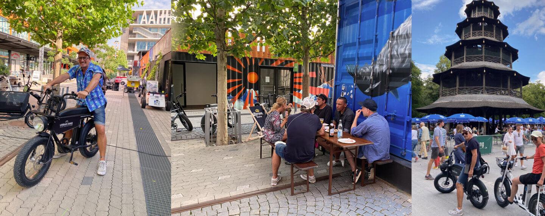 3 verschiedene Bilder von tourteilnehmern urban bike tours nebeneinander