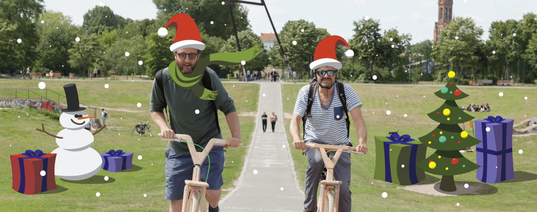 weihnachten cartoon foto leute fahrrad park